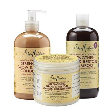 Shea Moisture JBCO Shampoo, Conditioner, and Leave-in Conditioner (photo credit: Shea Moisture/Amazon